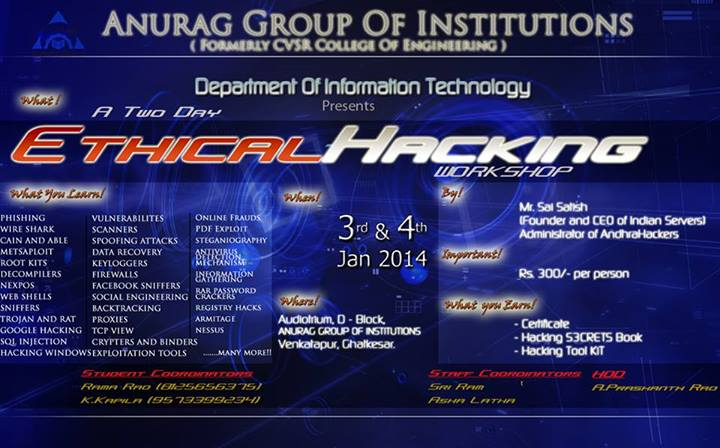 Ethical Hacking Workshop in Hyderabad on January 3-4, 2014