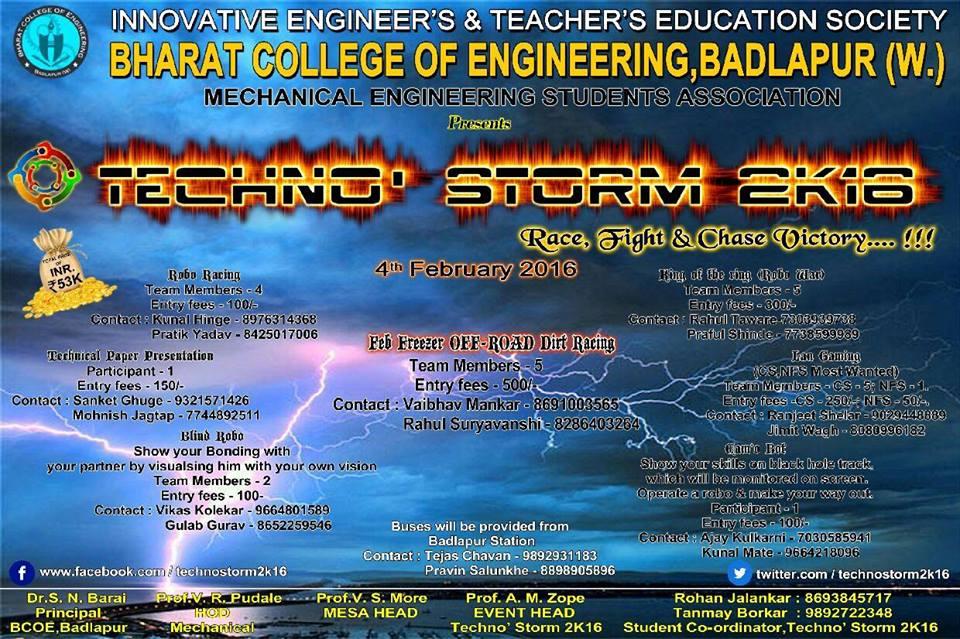 TechnoStorm - Technical Fest in Maharashtra on February 4, 2016