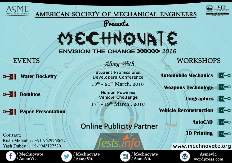 Mechnovate 2016 - Mechanical Symposium in VIT from March 18-20, 2016