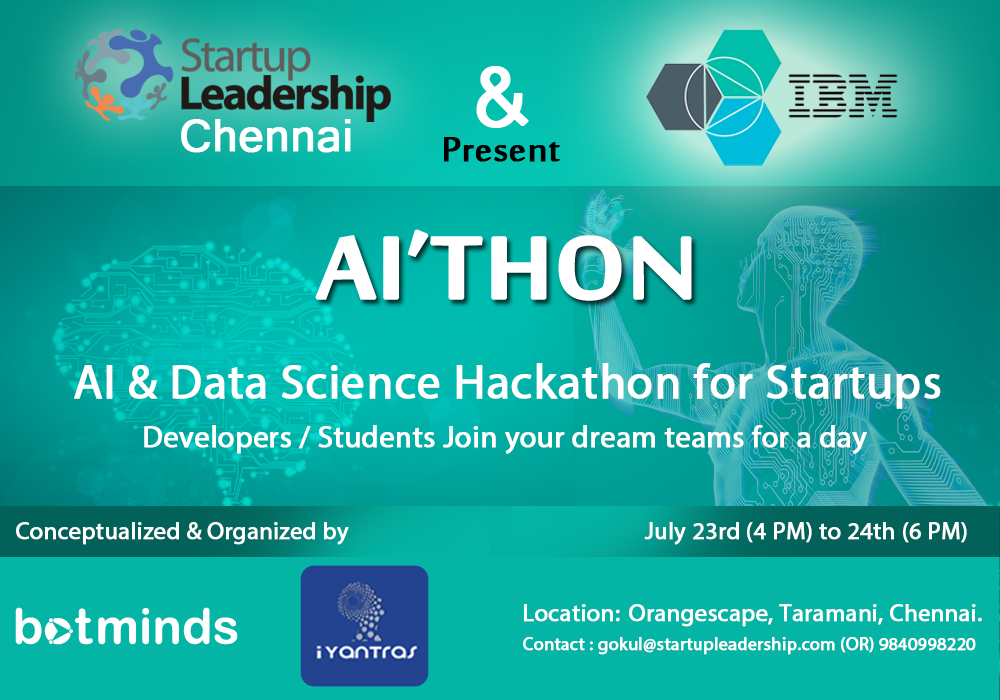 AI & Data Science Hackathon for Startups in Chennai from July 23-24, 2016