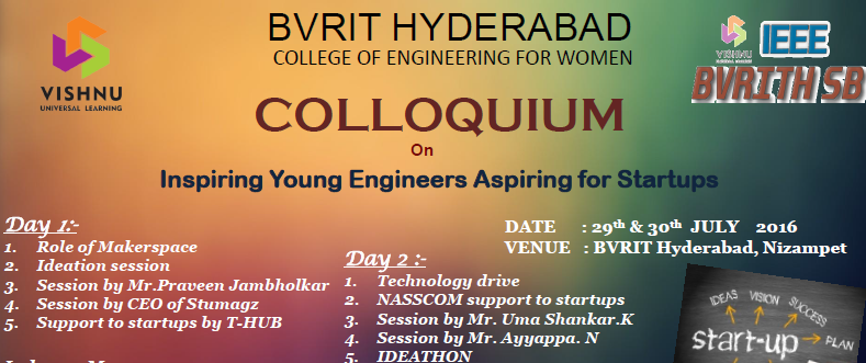 Colloquium - Event for Students by Startups in Hyderabad from July 29-30, 2016