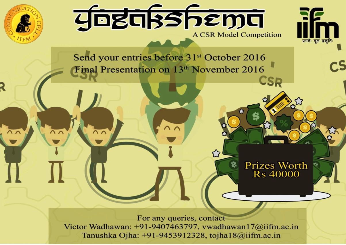Yogakshema - A CSR Model Competition in Bhopal on November 13, 2016