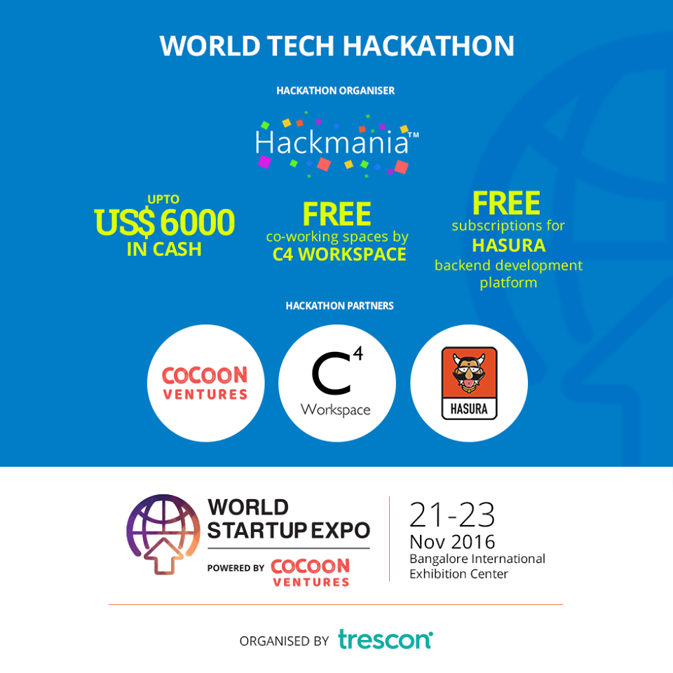 World Tech Hackathon by World Startup Expo in Bangalore from November 21-23, 2016