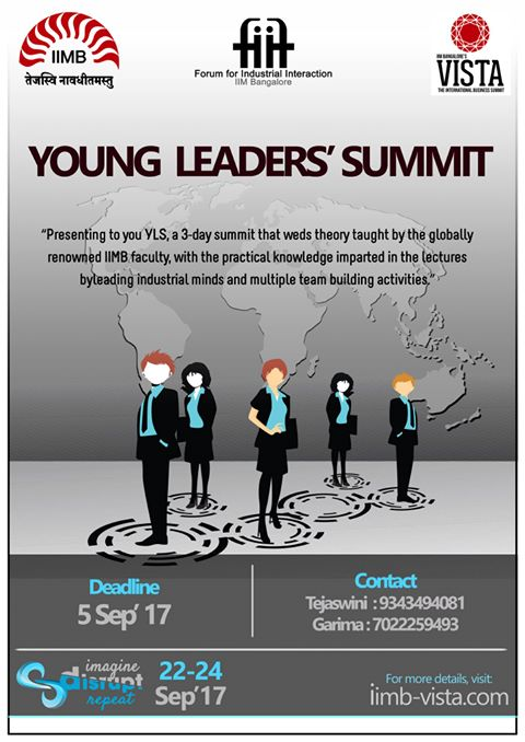 Young Leaders' Summit - Vista 2017 in IIM Bangalore from September 22-24, 2017