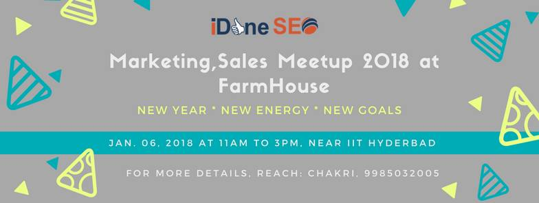 Marketing, Sales Meetup 2018 in Hyderabad on January 6, 2018